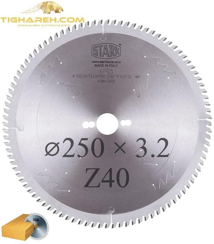 تیغ اره دیسکی الماسه چوب بر STARK 250×30×3.2-Z40