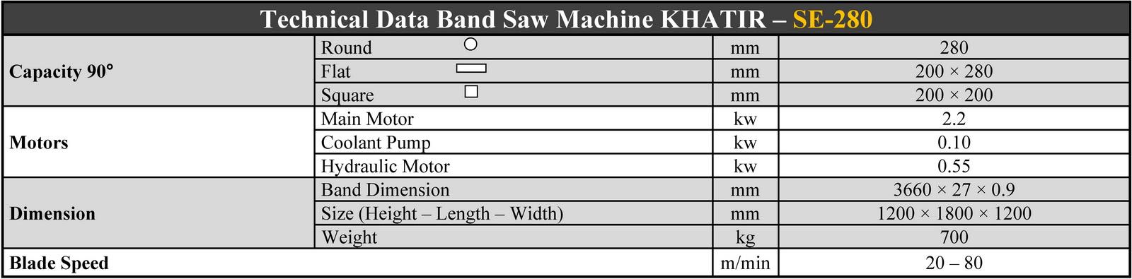 مشخصات فنی اره نواری بازویی نیمه اتوماتیک خطیر ماشین مدل SE-280