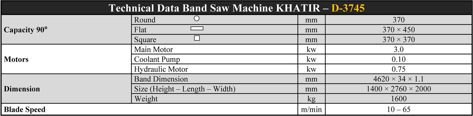 D-3745 مشخصات فنی دستگاه اره نواری دوستونه نیمه اتوماتیک خطیر ماشین