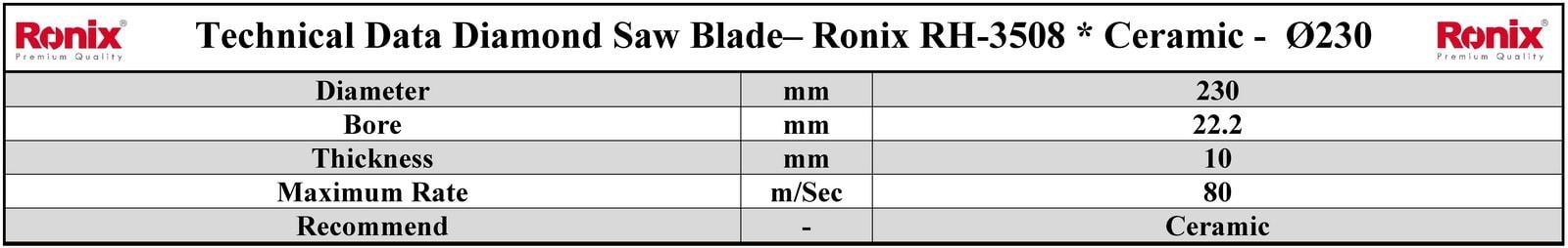 Ronix RH-3508 مشخصات فنی تیغ اره دیسکی الماسه برش سرامیک رونیکس