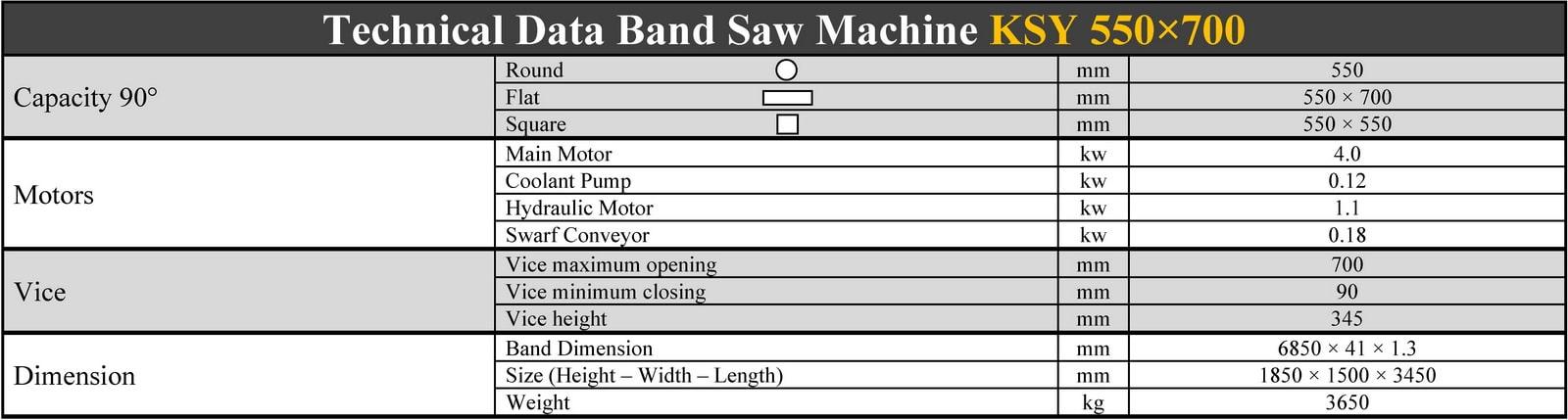 مشخصات فنی دستگاه اره نواری دو ستون نیمه اتوماتیک کسمک - KSY 550*700