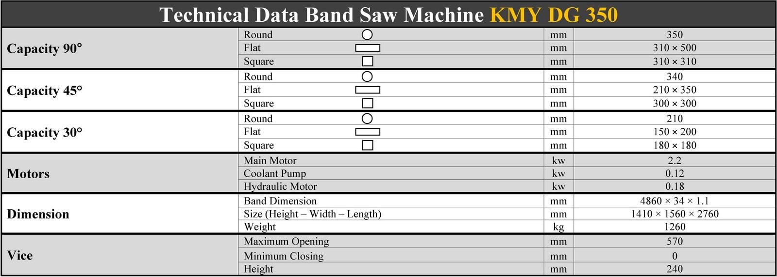 مشخصات فنی دستگاه اره نواری بازویی نیمه اتوماتیک زاویه زن - KMY DG 350